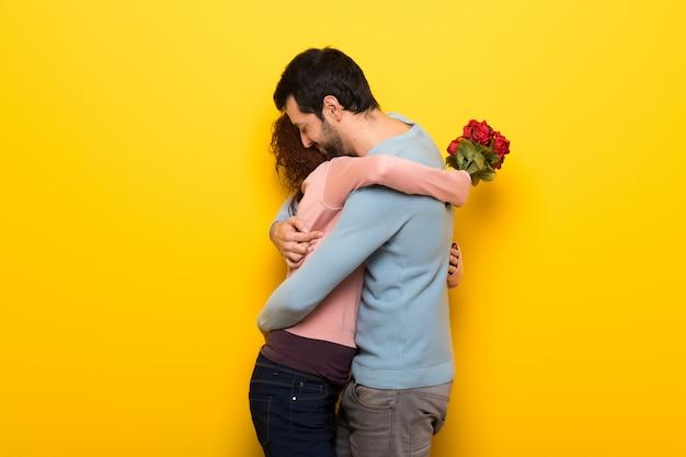 Couple avec fleurs