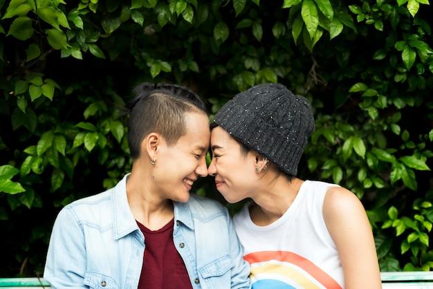 Couple lesbien lgbt asiatique