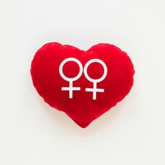 Couple de lesbiennes icône coeur de jouet rouge