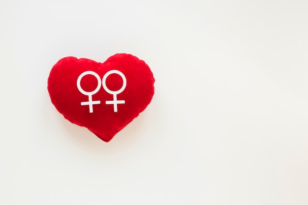 Couple de lesbiennes icône sur coeur rouge