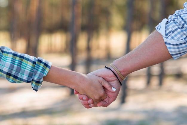 Couple main dans la main nature floue