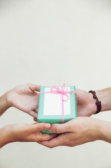 Couple, main, tenue, vert, boîte cadeau