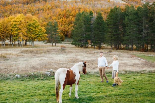 Couple marche sur la pelouse dans la forêt d'automne se tenant la main et le cheval paît sur la pelouse