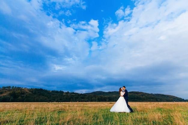 Couple mariage, dans, champ, sur, bleu, ciel saturé
