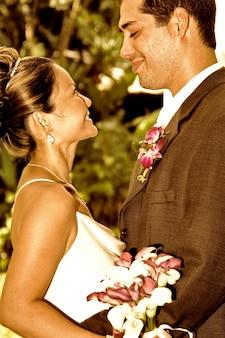 Couple de mariage dans le profil