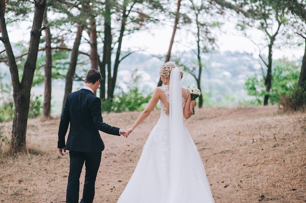 Couple mariage, tenant mains