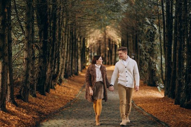 Couple de mode ensemble marchant dans le parc