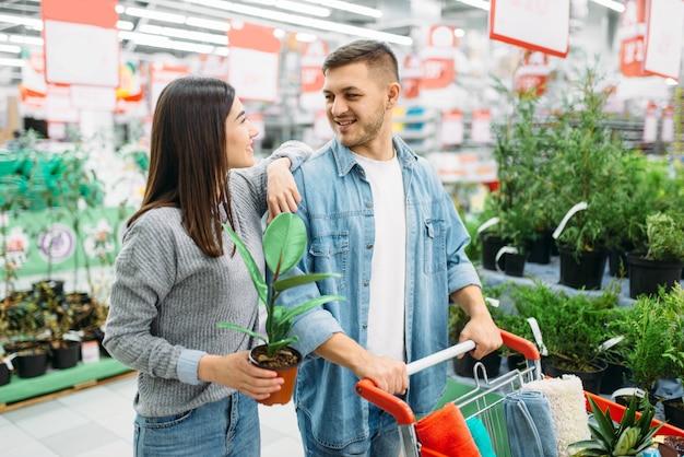 Couple avec panier d'achat de fleurs en supermarché