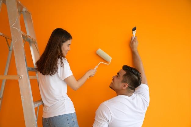 Couple, peinture, mur, charmant, concept