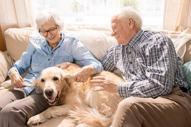 Couple de personnes âgées heureux avec chien
