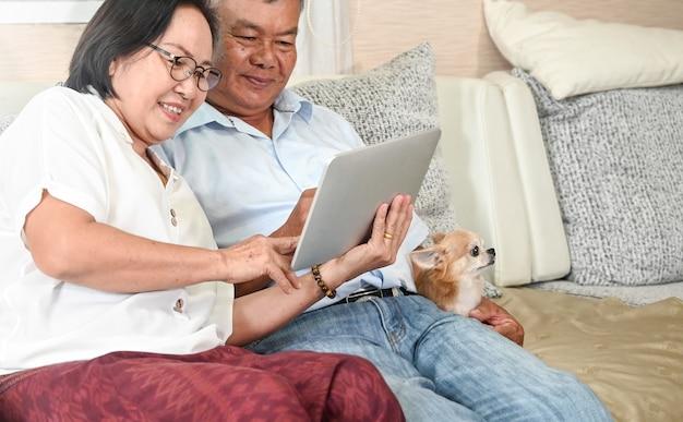 Couple de personnes âgées passer un appel vidéo par tablette numérique sur un canapé dans la maison avec un chien chihuahua.