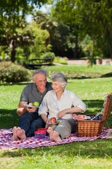 Couple de personnes âgées pique-niquant dans le jardin