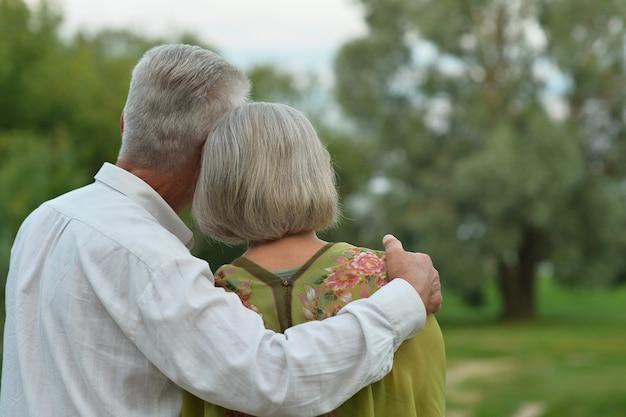 Couple de personnes âgées se reposant au parc d'été, vue arrière