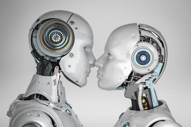 Couple de rendu 3d cyborgs baiser mâle et femelle