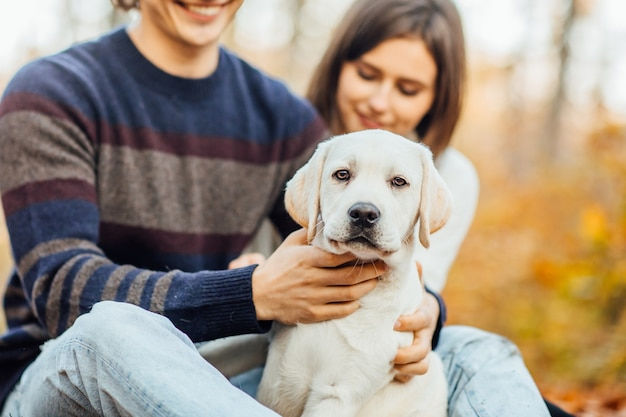 Couple romantique avec le labrador golden retriever assis dans la forêt d'automne