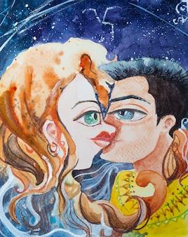 Couple s'embrassant sous le ciel étoilé