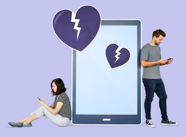 Couple se séparant par sms