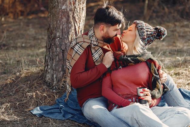 Couple, séance, arbre, ressort, forêt