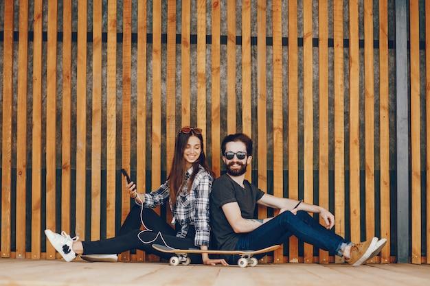Couple, séance, mur
