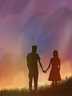 Couple de silhouette avec des nuages de crépuscule