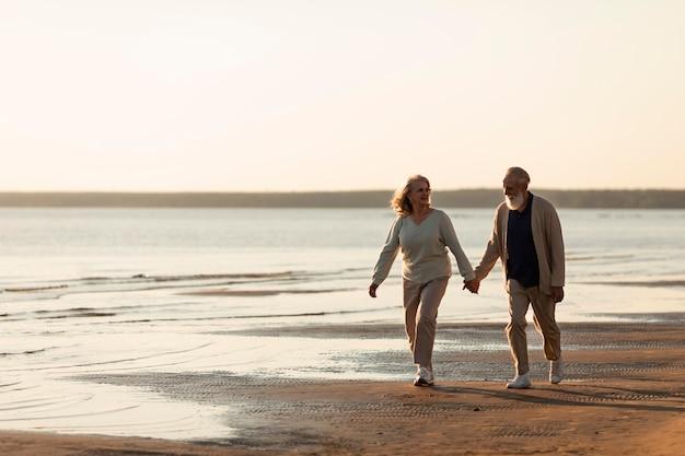 Couple, tenant mains, à, plage