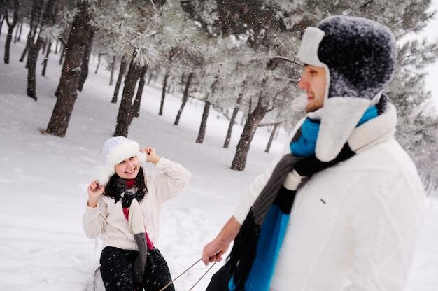 Couple, traîneau, neigeux, champ