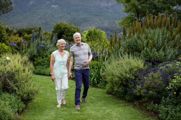 Couples aînés, marche, dans, pelouse