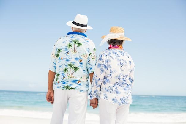 Couples aînés, tenant mains, sur, les, plage