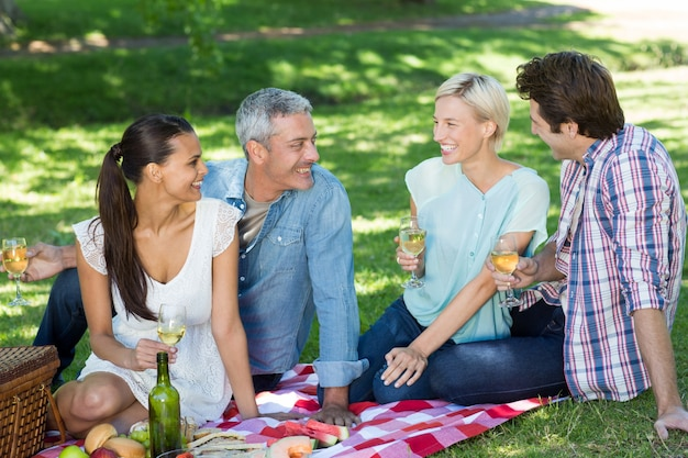 Couples heureux ayant pique-niquer au parc