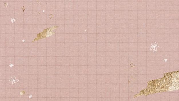 Coups de pinceau doré scintillant sur fond de grille rose