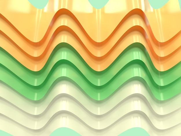 Courbe jaune vert blanc vague forme abstraite lévitation rendu 3d fond