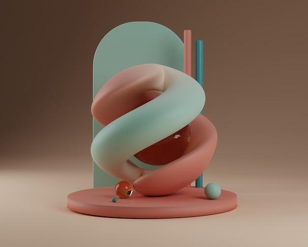 Les courbes douces forme l'abstraction de la scène de la géométrie 3d illustration de rendu