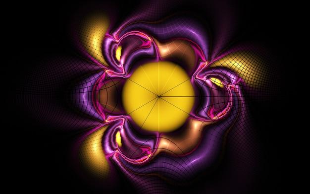 Courbes et lignes rondes abstraites de couleur fractale sur fond noir