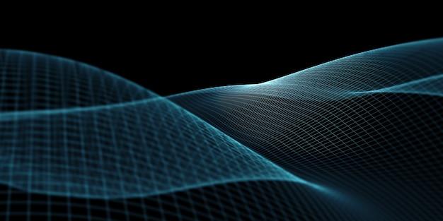 Courbes De Structures Numériques Le Filet Du Futur Grille De Technologie Géométrique Distance De Mise Au Point En Points émetteurs De Lumière Photo Premium