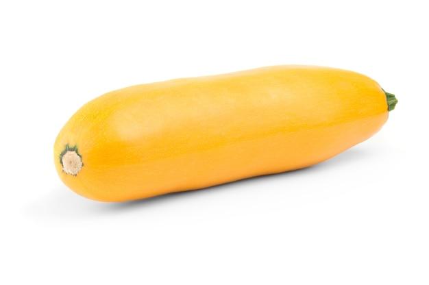 Courge courgette jaune isolé sur la découpe de fond blanc.