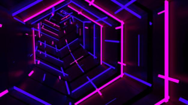 Courir dans un tunnel hexagonal à la lumière du néon