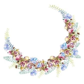 Couronne d'aquarelle avec baies et fleurs