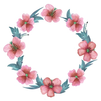 Couronne d'aquarelle avec des éléments de fleurs roses et de feuilles vertes
