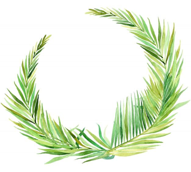 Couronne aquarelle de feuilles tropicales, isolé sur blanc