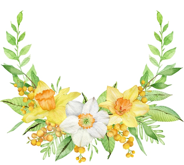 Couronne d'aquarelle avec jonquilles jaunes et branches de mimosa