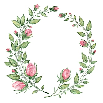 Couronne d'aquarelle de mariage avec des feuilles vertes et des roses roses