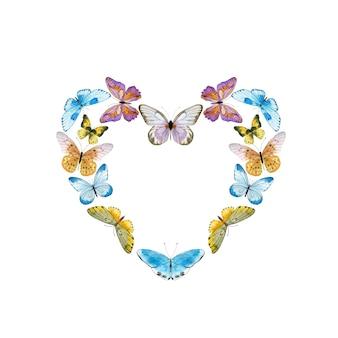 Couronne d'aquarelle avec des papillons colorés