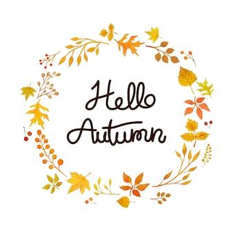 Couronne d'automne aquarelle, carte d'automne hellow