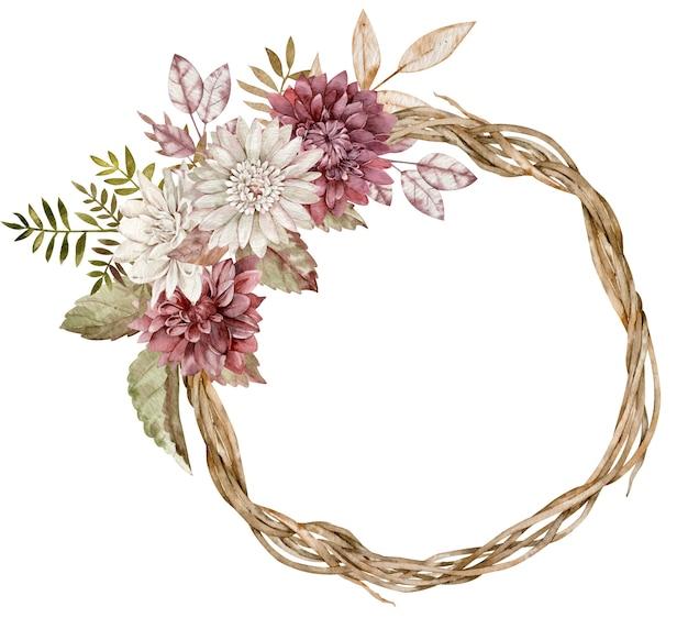 Couronne d'automne aquarelle décorée de fleurs d'aster, feuilles d'automne. beau cadre de cercle floral.