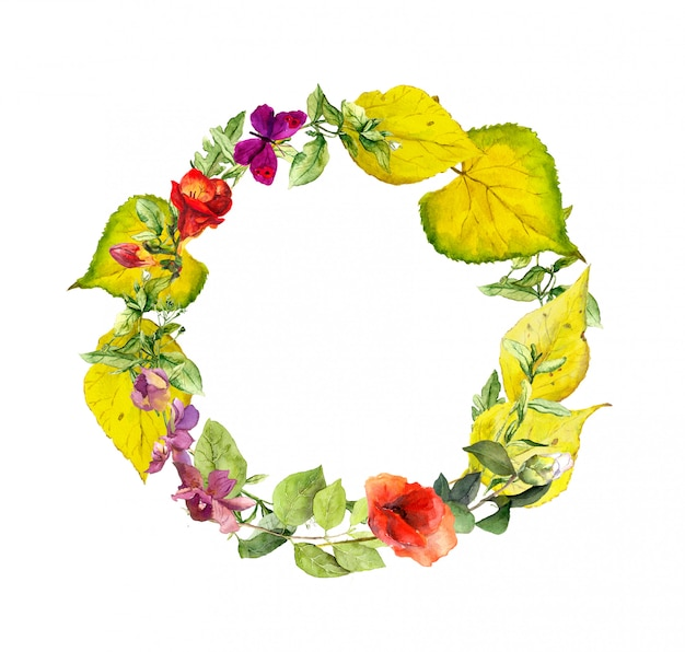 Couronne d'automne lumineux. fleurs, feuilles jaunes. bordure florale d'aquarelle