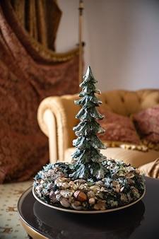 Couronne de l'avent avec bougies, mini décoration de table à la main pour le nouvel an, décoration d'intérieur d'arbre de noël artificiel