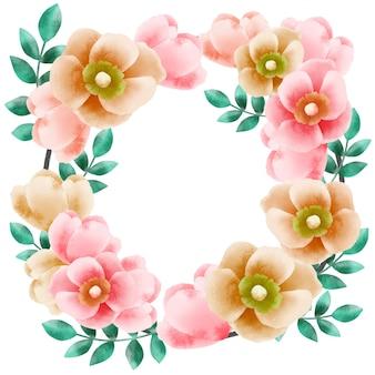 Couronne de bouquet rond de fleurs de wildrose