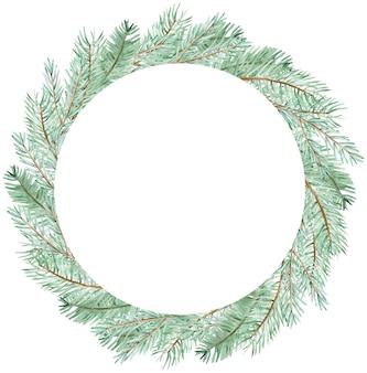 Couronne de branche de pin vert hiver aquarelle. modèle de branches vertes de cercle de noël dessiné à la main isolé sur fond blanc.