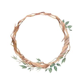 Couronne de branches aquarelle. cadre floral rond dessiné à la main isolé sur fond blanc.