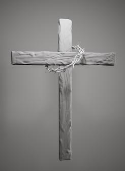 Couronne d'épines accrochée au rendu 3d de la croix de pâques